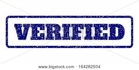 Navy Blue rubber seal stamp with Verified text. Vector message inside rounded rectangular banner. Grunge design and unclean texture for watermark labels. Horisontal sign on a white background.