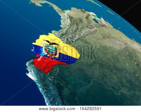 Flag Of Ecuador From Space