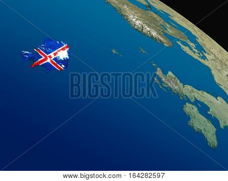 Flag Of Iceland From Space
