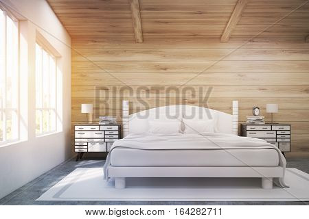 Double Bed In A Wooden Room, Toned