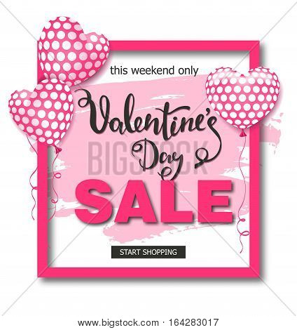 Valentines day sale background with balloons heart. Vector illustration. Wallpaper, flyers, invitation, posters, brochure banners