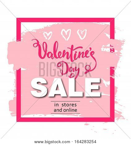 Valentines day sale background with heart. Vector illustration. Wallpaper, flyers, invitation, posters brochure banners