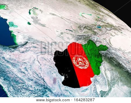 Flag Of Afghanistan From Space