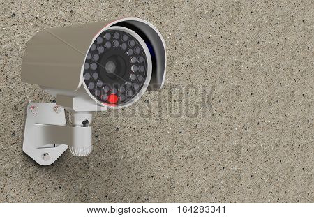CCTV Security camera on a wall 3D rendering