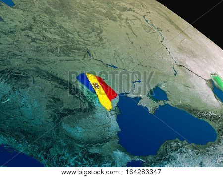 Flag Of Moldova From Space