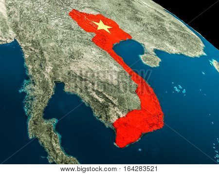 Flag Of Vietnam From Space
