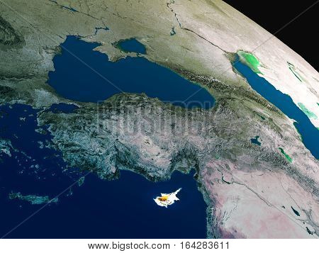Flag Of Cyprus From Space