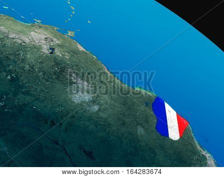 Flag Of French Guiana From Space
