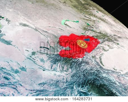 Flag Of Kyrgyzstan From Space