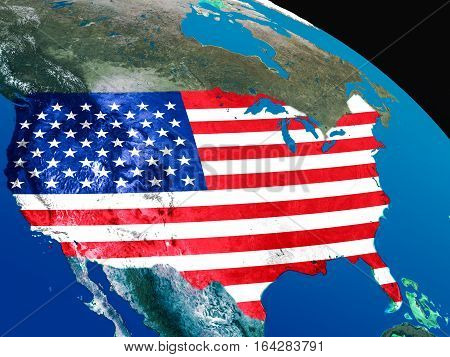 Flag Of Usa From Space