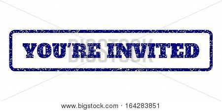 Navy Blue rubber seal stamp with You'Re Invited text. Vector tag inside rounded rectangular banner. Grunge design and dirty texture for watermark labels. Horisontal emblem on a white background.