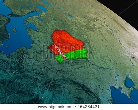 Flag Of Belarus From Space