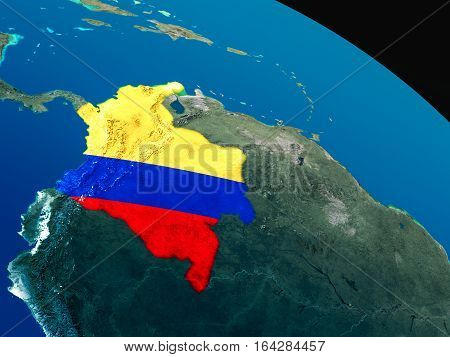 Flag Of Colombia From Space