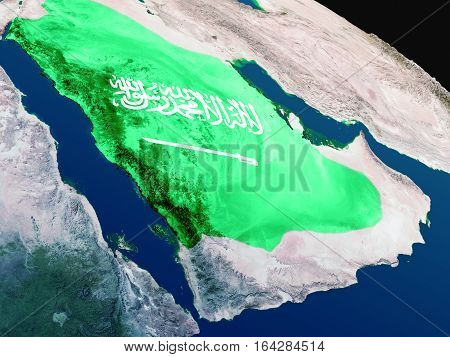 Flag Of Saudi Arabia From Space