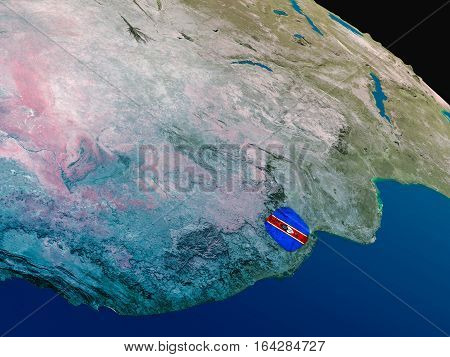 Flag Of Swaziland From Space