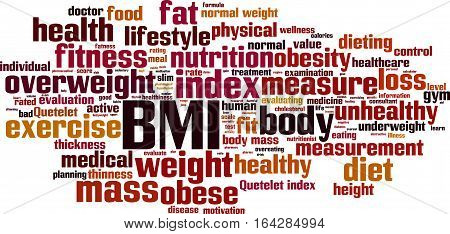 BMI word cloud concept. Vector illustration on white
