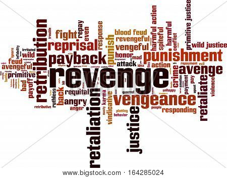 Revenge word cloud concept. Vector illustration on white