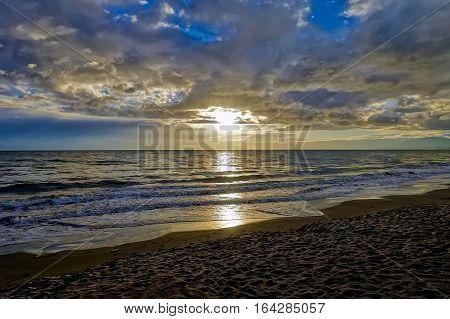 Marbella, Spain, December 16, 2016: Sunset over the Mediterranean sea at Marbella in Spain.