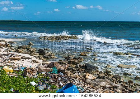 Mexico Coastline ocean Pollution Problem with plastic litter 8