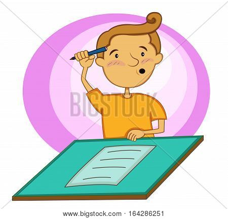 Young man confusing answering test on paper cartoon illustration.