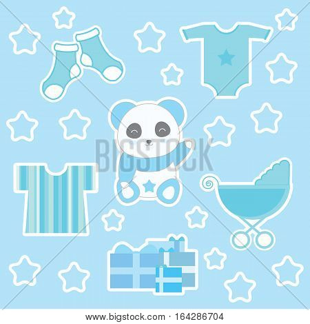 Baby shower illustration with cute baby boy panda and baby clothes suitable for baby shower sticker set and clip art