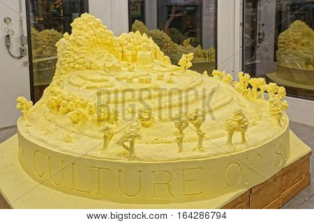 HARRISBURG PENNSYLVANIA - JANUARY 7 2017: A sculpture crafted from 1000 pounds of butter by artist Jim Victor and Marie Pelton on display at the Farm Show Complex.