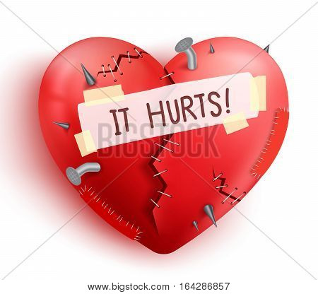Broken heart wounded in red color with stitches and patches isolated in white background. Vector illustration.