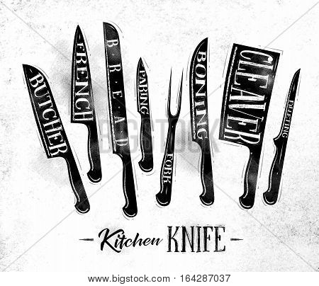 Poster kitchen meat cutting knifes butcher french bread paring fork boning cleaver filleting drawing in vintage style on dirty paper background