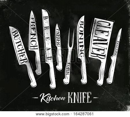 Poster kitchen meat cutting knifes butcher french bread paring fork boning cleaver filleting in vintage style drawing with chalk on chalkboard background