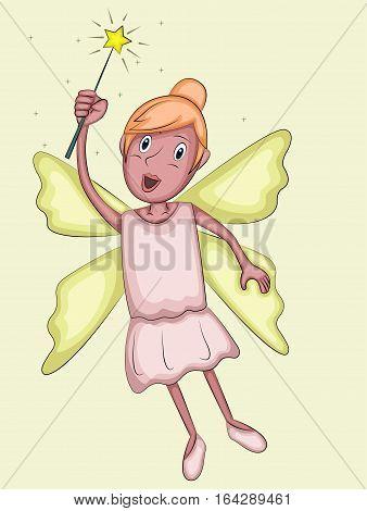 Fairy Cartoon Flying with Magic Wand Cartoon Illustration.