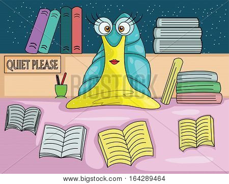 Snail Librarian with Books Cartoon Character. Vector Illustration of Animal Profession.