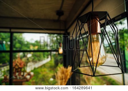 Incandescent lamps in a modern cafe on the background of greenery and showcases. Edison lamp.