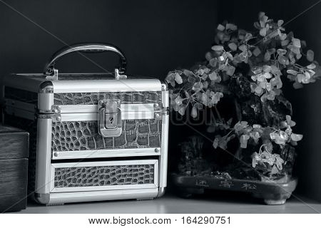 The chest, ornamental tree on a black and white.