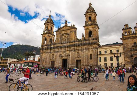 Bogota, Colombia - December 11, 2016: Simon Bolivar Square and the Cathedral on December 11, 2016 in Bogota, Colombia. The Cathedral is located in the famous and historical area called Candelaria.