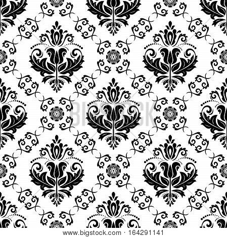 Oriental vector classic black and white pattern. Seamless abstract background with repeating elements. Orient background