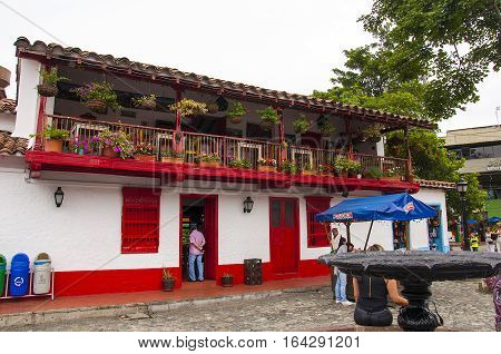 Medellin, Colombia - December 12, 2016: Pueblito Paisa in the Nutibara Hill, reproduction of the township traditional Colombian city of Medellin.
