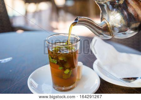Traditional Mint Tea, Also Known As Berber Whiskey, Morocco