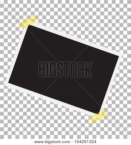 photo frame on sticky tape. Template photo design.