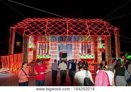 Medellin,  Colombia - December 14, 2016: Some Christmas decoration at the North Park (Parque Norte) in Medellin, Colombia