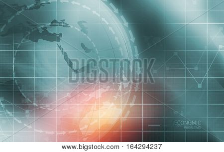 Global Economic Problems with Analytical Graph in Background Earth Globe in Center Covered by Wave Lines. 3d Render 3d Illustration