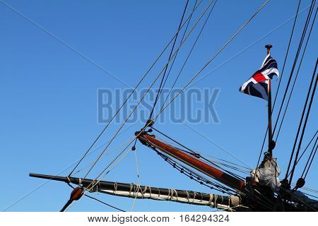 Detail of a sailing ships bowsprit and rigging