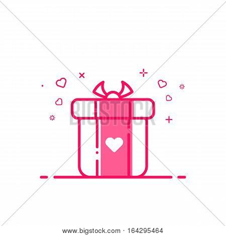 Vector illustration of icon valentines day shopping concept advertising and promotion in flat bold line style. Graphic design pink gift or bounty box with heart symbol . Outline object e-commerce.