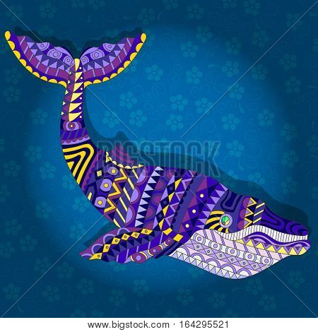 Illustration with abstract whale on a dark blue floral background