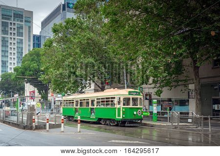 Melbourne Australia - December 27 2016: Melbourne City Circle Tram at Flinders Street. The service is the most famous iconic transportation in the central business district which passing through major tourist attractions and linking with other tram train