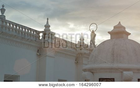 White roof architecture in sunset light in Leon Nicaragua