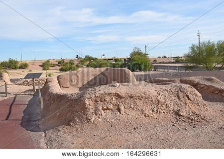 PHOENIX ARIZONA - DECEMBER 9 2016: Pueblo Grande ruins. The historic site is in the middle of the greater Phoenix area.