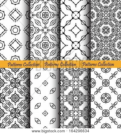 Forged backgrounds set. Intricate seamless patterns. Elegant ornament for damask wallpaper, fabric, paper, invitation print. Stylized weave vector. Black and white flourish motif. Unusual vintage.