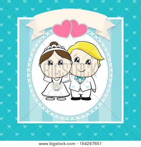 cute bride and groom with hearts and empty banner on seamless hearts pattern ideal for funny wedding invitations