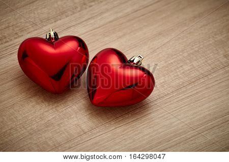 Valentines day red heart on wood background