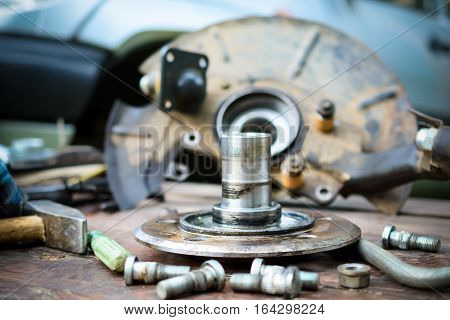 The axis of the automobile wheel. Abstract industrial background.